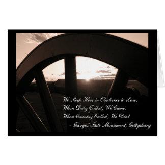 Tarjeta de nota de la puesta del sol de Gettysburg
