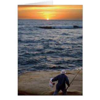 Tarjeta de nota de la puesta del sol de la pesca