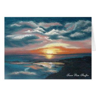 Tarjeta de nota de la puesta del sol de los marism