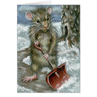 Tarjeta de nota de la rata de la pala de la nieve