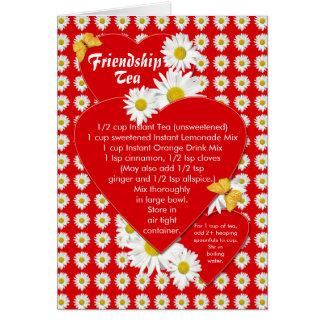 Tarjeta de nota de la receta del té de la amistad