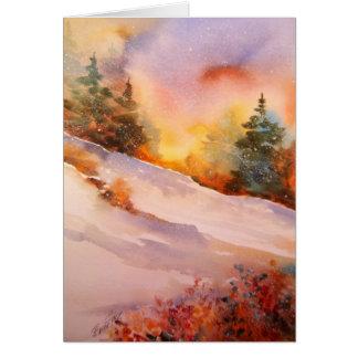 Tarjeta de nota de la salida del sol del invierno