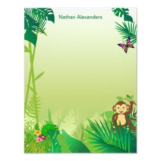 "Tarjeta de nota de la selva tropical de Rockin Invitación 4.25"" X 5.5"""