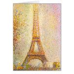Tarjeta de nota de la torre Eiffel de Seurat