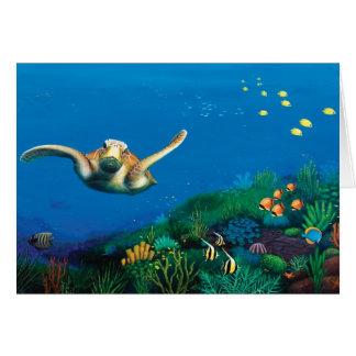 Tarjeta de nota de la tortuga de mar verde