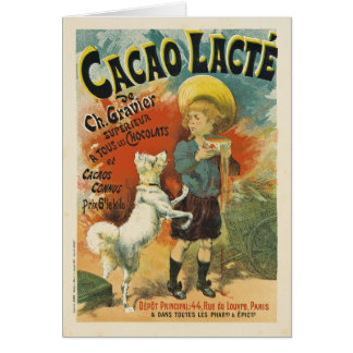 Tarjeta de nota de Lacte del cacao