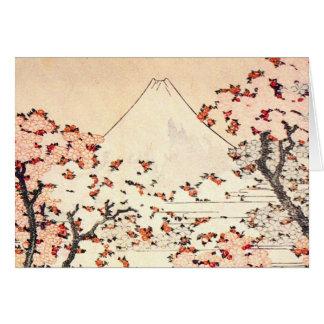 Tarjeta de nota de las flores de cerezo de Hokusai