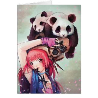 Tarjeta de nota de las pandas de Ninja del melocot