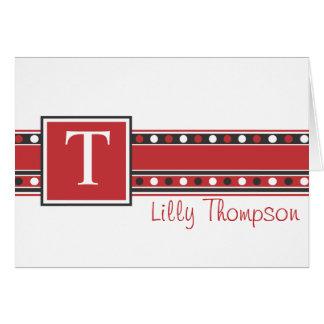 Tarjeta de nota de Lilly - rojo y negro