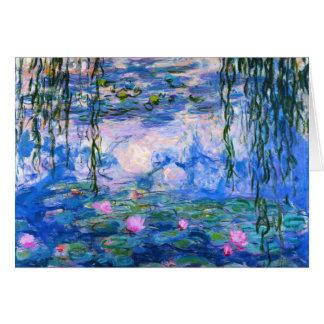 Tarjeta de nota de los lirios de agua de Monet