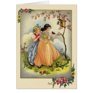 Tarjeta de nota de los niños del jardín del