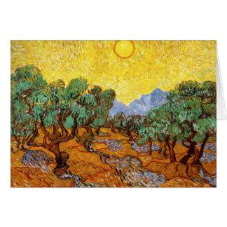 Tarjeta de nota de los olivos de Van Gogh