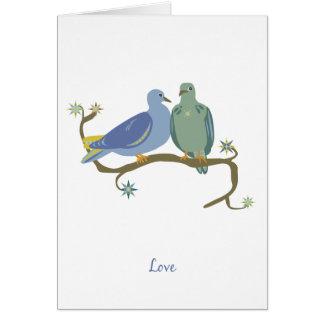 Tarjeta de nota de los pájaros del amor