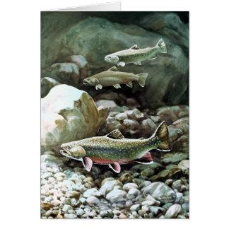 Tarjeta de nota de los pescados de la trucha