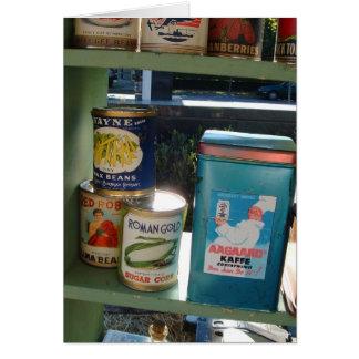 Tarjeta de nota de los productos alimenticios del
