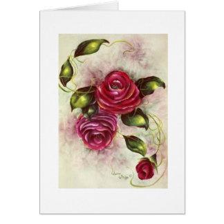 Tarjeta de nota de los rosas del Victorian