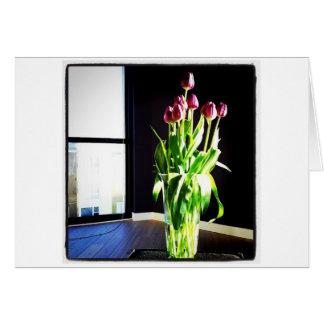 Tarjeta de nota de los tulipanes