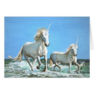 Tarjeta de nota de los unicornios