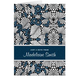Tarjeta de nota de lujo del helecho azul y blanco