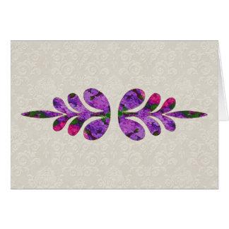Tarjeta de nota del adorno de la hoja floral