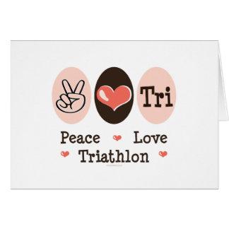 Tarjeta de nota del amor de la paz tri