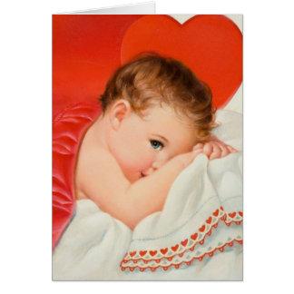 Tarjeta de nota del amor del bebé del corazón del
