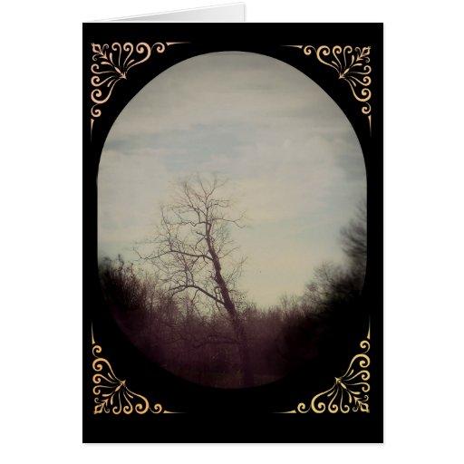 Tarjeta de nota del árbol del invierno