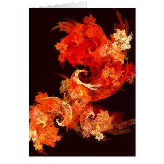 Tarjeta de nota del arte abstracto de Firebirds de