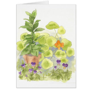 Tarjeta de nota del arte de la flor de la acuarela