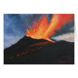 Tarjeta de nota del arte del volcán
