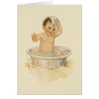 Tarjeta de nota del baño del bebé del vintage