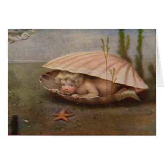 Tarjeta de nota del bebé de la sirena del vintage
