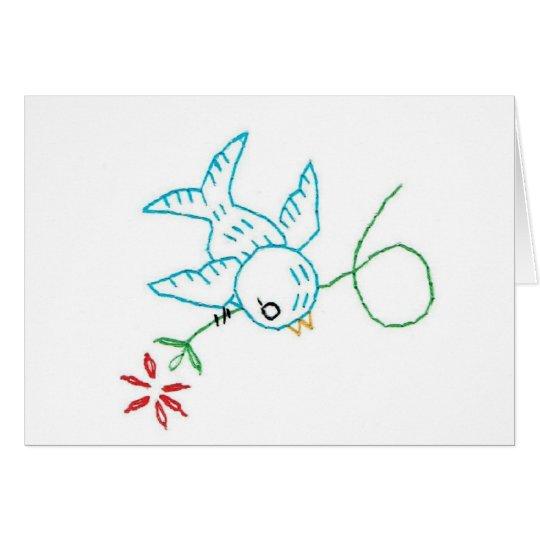 Tarjeta de nota del bordado del Bluebird #4