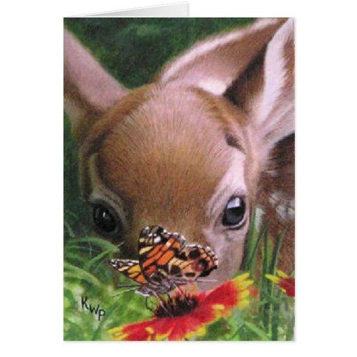 Tarjeta de nota del cervatillo y de la mariposa