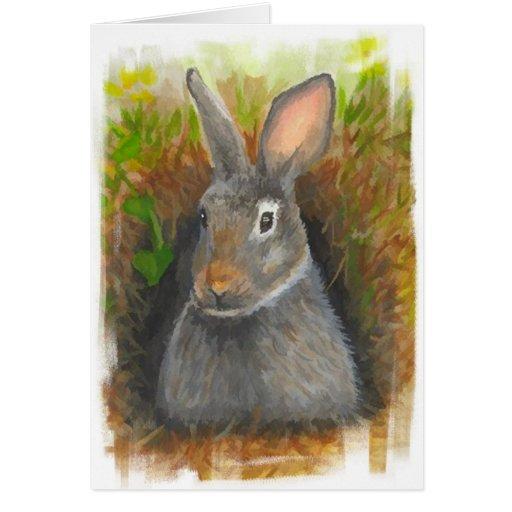 Tarjeta de nota del conejo de la acuarela