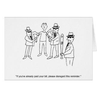 Tarjeta de nota del dibujo animado de la mafia