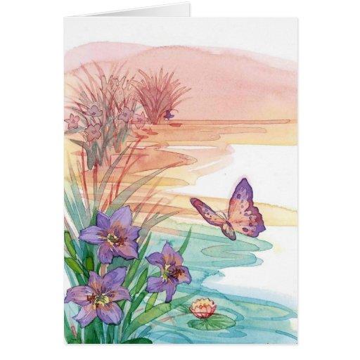tarjeta de nota del espacio en blanco de la acuare