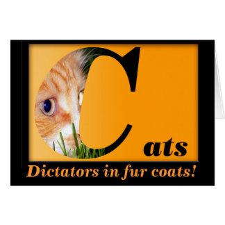 Tarjeta de nota del gato; Gatos--Dictadores en abr