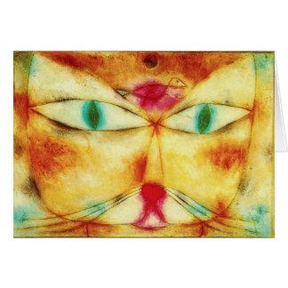 Tarjeta de nota del gato y del pájaro de Paul Klee