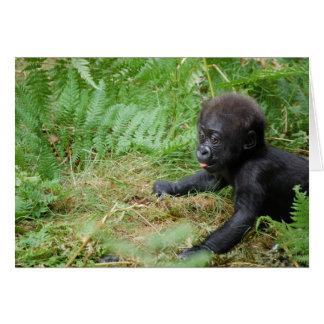 Tarjeta de nota del gorila del bebé