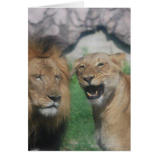 Tarjeta de nota del león de la mamá y del papá