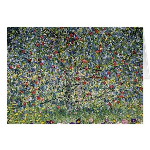 Tarjeta de nota del manzano de Gustavo Klimt