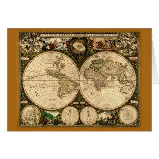 Tarjeta de nota del mapa de Viejo Mundo