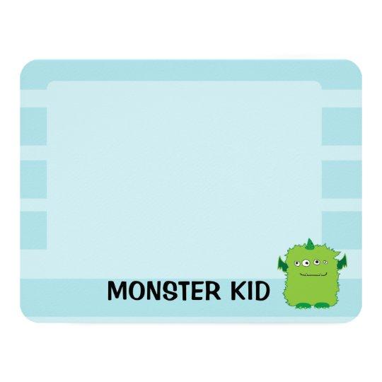 """Tarjeta de nota del monstruo invitación 4.25"""" x 5.5"""""""