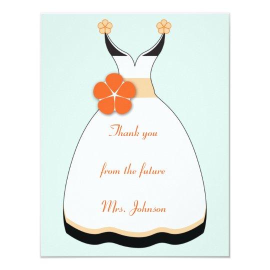 """Tarjeta de nota del naranja dulce y del vestido de invitación 4.25"""" x 5.5"""""""