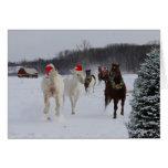 Tarjeta de nota del navidad de caballos corrientes