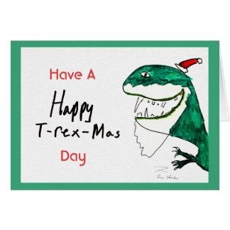 Tarjeta de nota del navidad T-Rex-Mas