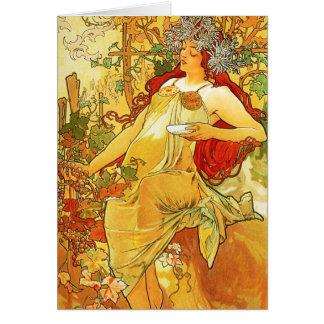Tarjeta de nota del otoño de Alfonso Mucha