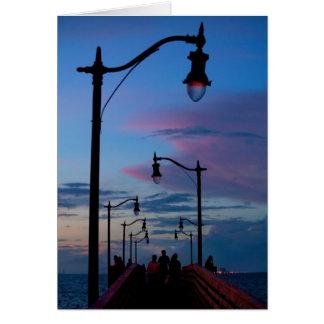 Tarjeta de nota del paseo marítimo de la playa de