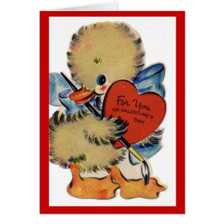 Tarjeta de nota del pato de la tarjeta del día de